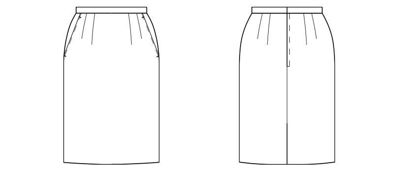 FS2005L FACEMIX/GRAND(グラン) ストレッチスカート(女性用) ストライプ ハンガーイラスト・線画