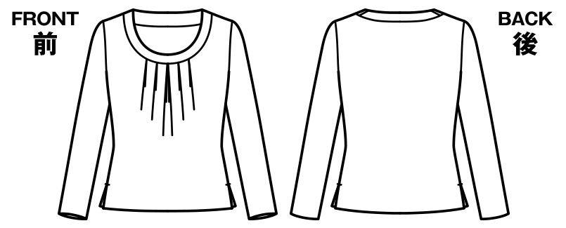 BONMAX KK7502 [通年]アミーザ 胸元タック入り 長袖ニット ハンガーイラスト・線画