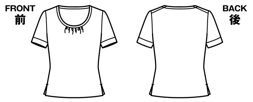 BONMAX KK7802 [通年]アミーザ ラウンドネック半袖ニット・カットソー ハンガーイラスト・線画