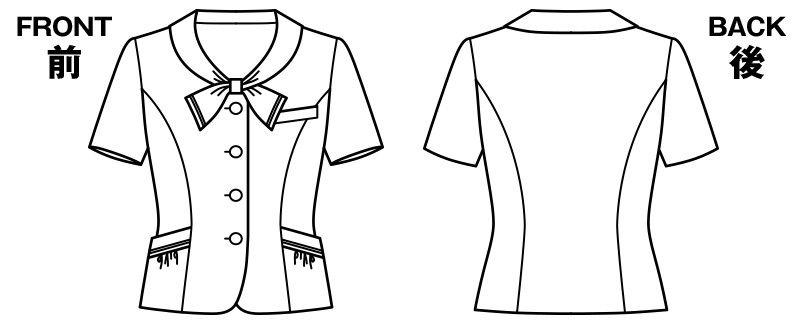 KK7812 BONMAX/リエート オーバーブラウス ストライプ ハンガーイラスト・線画