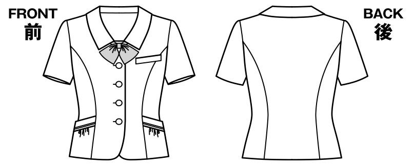 KK7813 BONMAX/リエート オーバーブラウス(サテンリボン付き) ストライプ ハンガーイラスト・線画