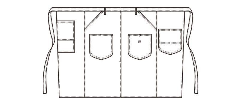 LCK79002 Lee ウエストエプロン(男女兼用) ハンガーイラスト・線画