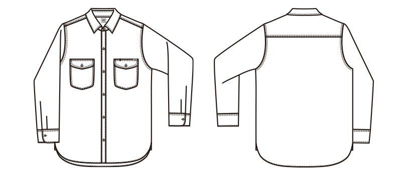 LCS43003 Lee シャンブレーシャツ/長袖(女性用) ハンガーイラスト・線画