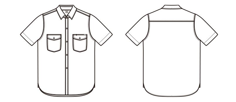 LCS43005 Lee シャンブレーシャツ/半袖(女性用) ハンガーイラスト・線画