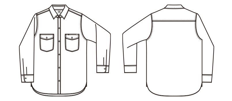 LCS46003 Lee シャンブレーシャツ/長袖(男性用) ハンガーイラスト・線画