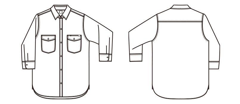 LCS46004 Lee シャンブレーシャツ/七分袖(男性用) ハンガーイラスト・線画