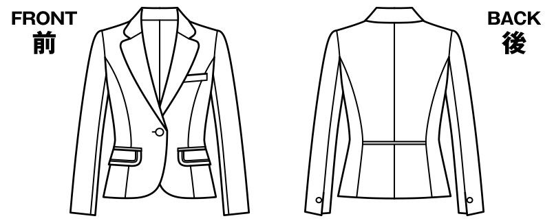 BONMAX LJ0164 [通年]エミュ ペッパーツイード素材ジャケット チェック ハンガーイラスト・線画