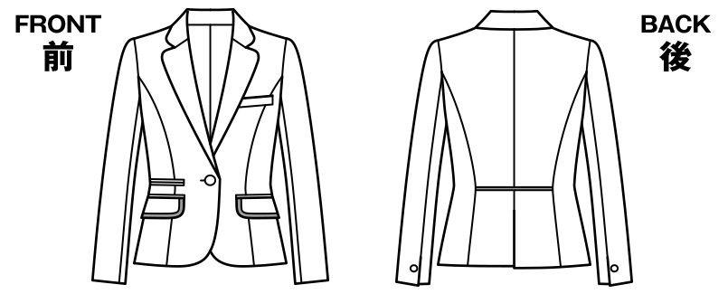BONMAX LJ0165 [通年]プリエール ジャケット グレイのラメ入りツイード ハンガーイラスト・線画