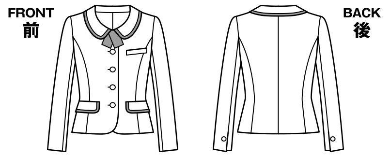 BONMAX LJ0166 [通年]シャンテ タータンチェック柄ジャケット チェック ハンガーイラスト・線画