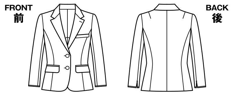 BONMAX LJ0762 [春夏用]レジェール 七分袖テーラードジャケット ストライプ ハンガーイラスト・線画