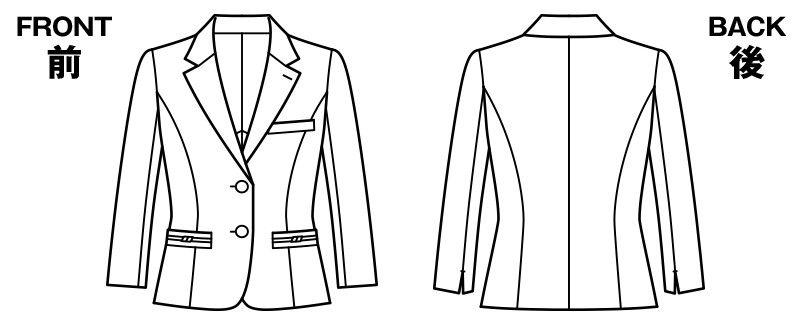 BONMAX LJ0763 [春夏用]イルマーレ 七分袖テーラードジャケット 無地 ハンガーイラスト・線画