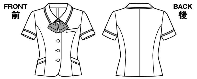 BONMAX LJ0765 [春夏用]イルマーレ オーバーブラウス(リボン付き) 無地 ハンガーイラスト・線画