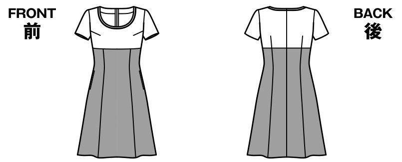 BONMAX LO5704 [春夏用]アミティエ ワンピース(女性用) チェック柄×ブラック ハンガーイラスト・線画