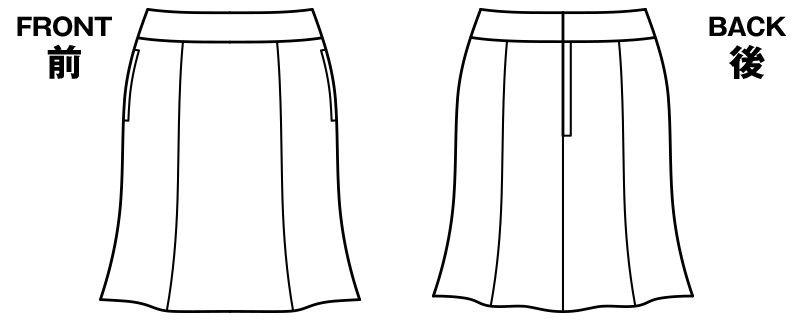 BONMAX LS2188 [通年]リブラ マーメイドスカート ドット柄 ハンガーイラスト・線画