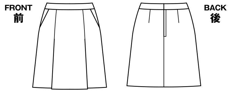 BONMAX LS2193 [通年]エミュ ツイード素材のプリーツスカート チェック ハンガーイラスト・線画