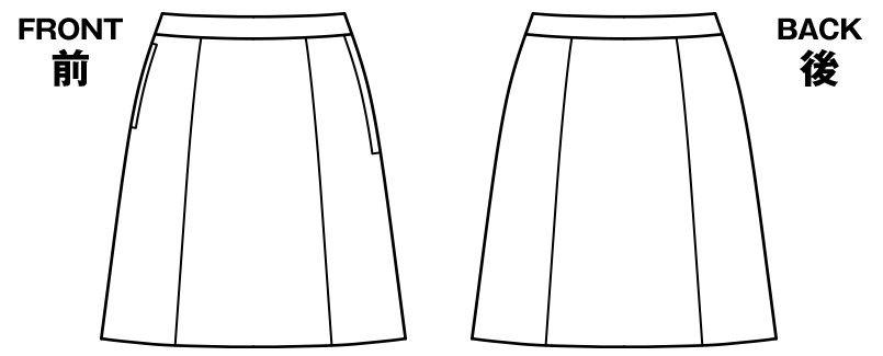 [在庫限り/返品交換不可]BONMAX LS2195 [通年]カルム Aラインスカート 無地 ハンガーイラスト・線画