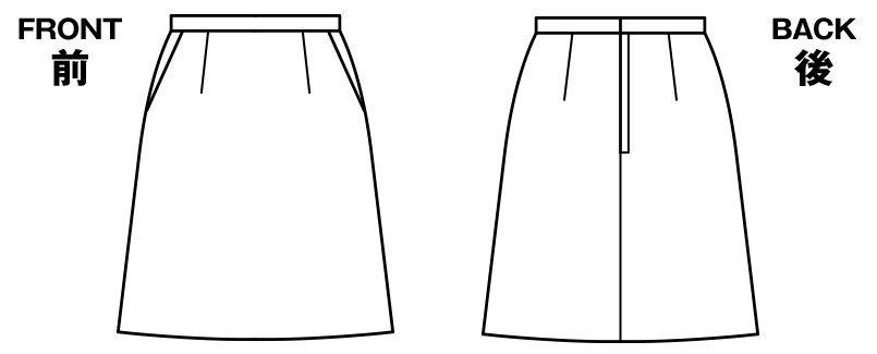 LS2737 BONMAX/フレキシー Aラインニットスカート ニット 無地 ハンガーイラスト・線画
