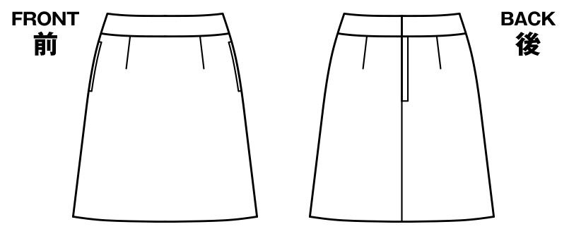 LS2742 BONMAX/べルタ Aラインスカート 無地 ハンガーイラスト・線画