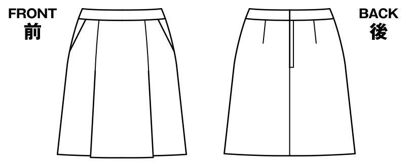 BONMAX LS2746 [春夏用]エアリネス プリーツスカート 無地 ハンガーイラスト・線画