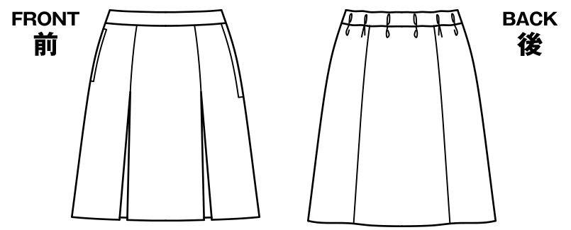 BONMAX LS2755 [春夏用]イルマーレ プリーツスカート 無地 ハンガーイラスト・線画
