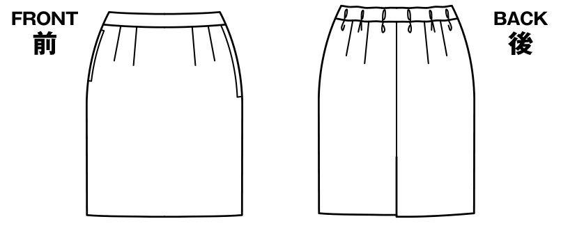 BONMAX LS2756 [春夏用]イルマーレ 真夏に嬉しい清涼感、すっきりタイトスカート 無地 ハンガーイラスト・線画