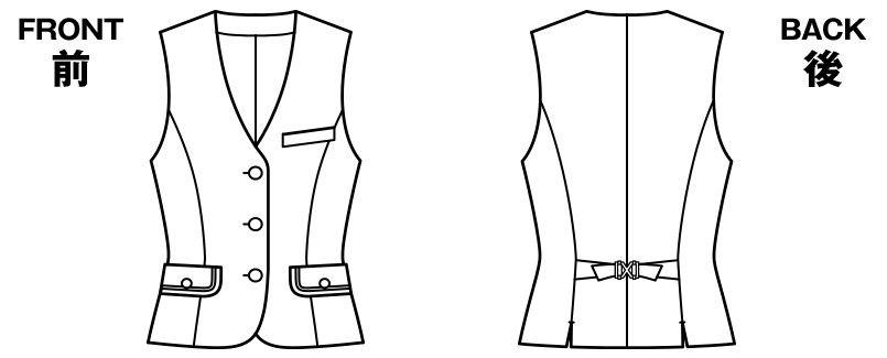 BONMAX LV1173 [通年]エミュ ツイード素材のチェック柄ベスト ハンガーイラスト・線画