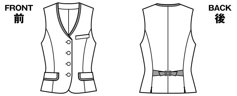 BONMAX LV1177 [通年]シャンテ ベスト 洗濯OK チェック ハンガーイラスト・線画