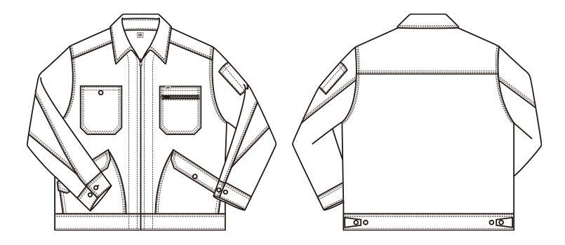 Lee LWB06001 ジップアップジャケット(男性用) ハンガーイラスト・線画