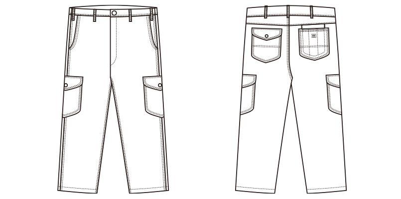 Lee LWP66004 [通年]カーゴパンツ(男性用) ハンガーイラスト・線画