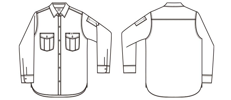 Lee LWS43001 レディースワーク長袖シャツ(女性用) ハンガーイラスト・線画