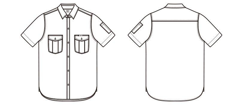 Lee LWS43002 レディースワーク半袖シャツ(女性用) ハンガーイラスト・線画