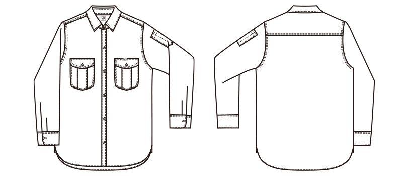 Lee LWS46001 メンズワーク長袖シャツ(男性用) ハンガーイラスト・線画