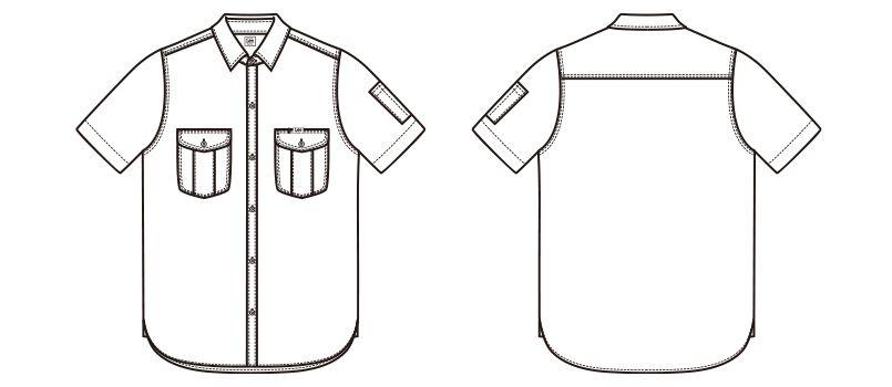 Lee LWS46002 メンズワーク半袖シャツ(男性用) ハンガーイラスト・線画