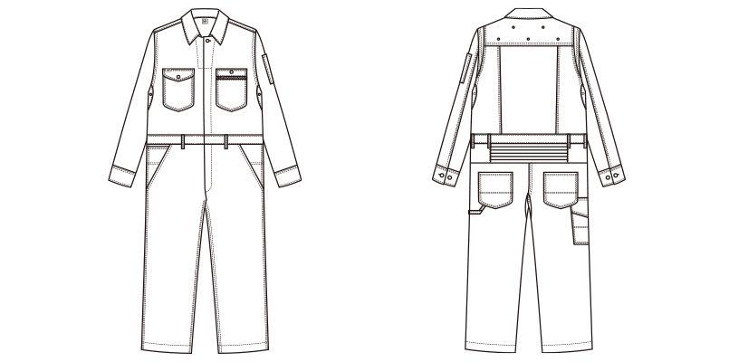 Lee LWU39001 [通年]ユニオンオール(長袖ツナギ)(男女兼用) ハンガーイラスト・線画