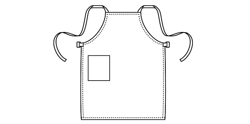 MK7001 FACEMIX X型コットンクロス胸当てエプロン(男女兼用) ハンガーイラスト・線画