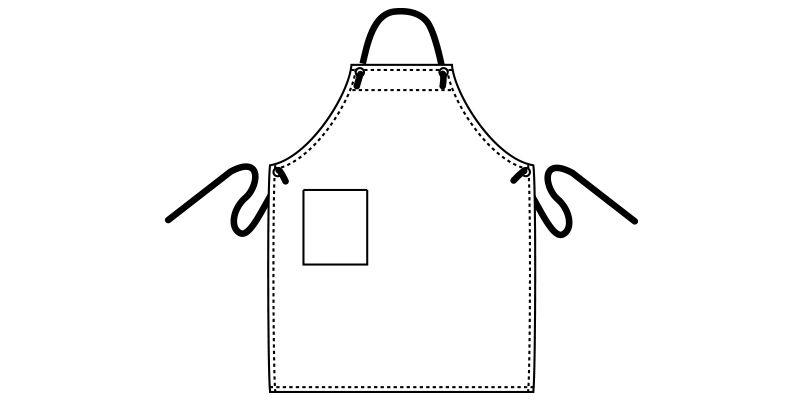 MK7003 FACEMIX 胸当てデニムエプロンロープ(男女兼用) ハンガーイラスト・線画