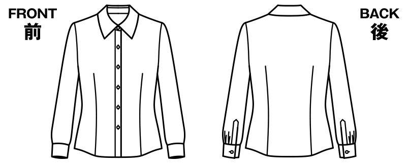 BONMAX RB4136 [通年]リサール 形態安定で上質な肌触りのシンプルな長袖ブラウス ハンガーイラスト・線画