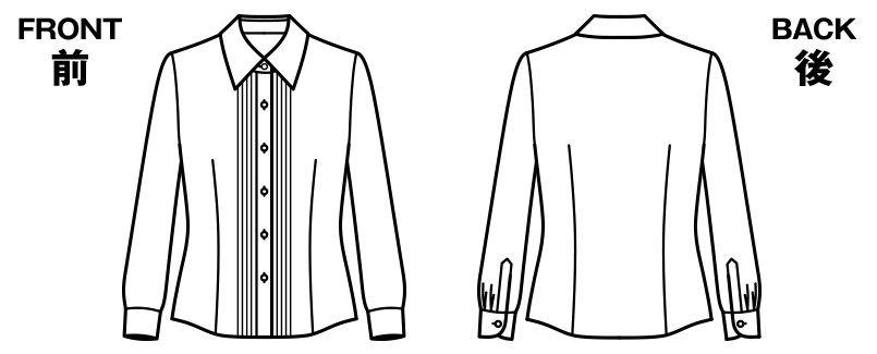 BONMAX RB4140 [通年]リサール 知的な雰囲気を醸し出す胸元のピンタック 長袖ブラウス ハンガーイラスト・線画