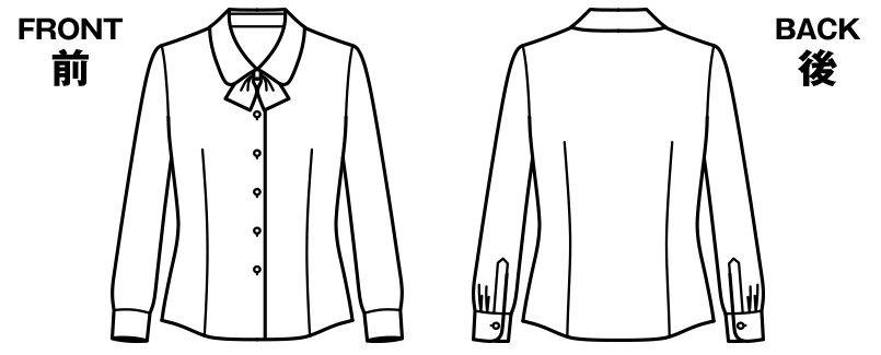 BONMAX RB4149 [通年]リサール繊細なダイヤ織り 透けにくい長袖ブラウス ハンガーイラスト・線画