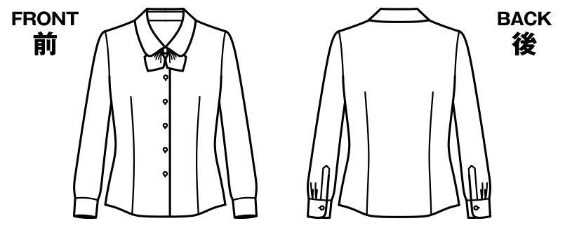 BONMAX RB4152 [通年]抗菌防臭で汚れにくい 優しげな風合いでワッフル生地の長袖ブラウス ハンガーイラスト・線画