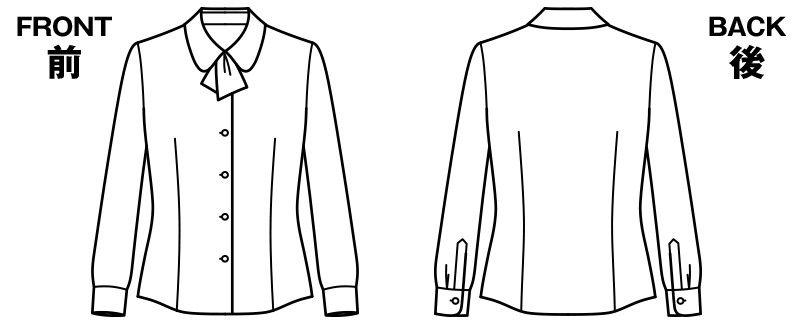 BONMAX RB4154 [通年]パウダリーな風合いで優しい肌触りの長袖ニットブラウス(リボン付き) ハンガーイラスト・線画