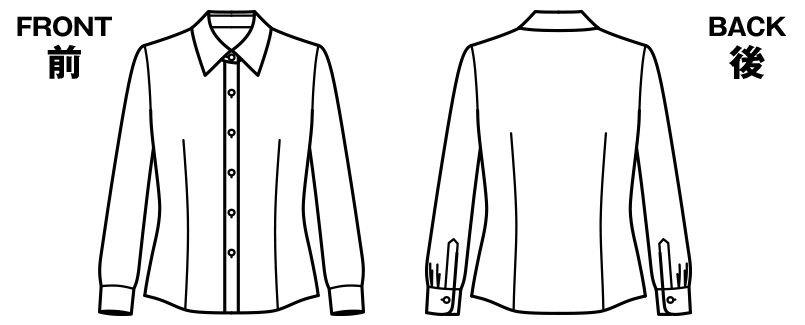 BONMAX RB4156 [通年]リーズナブルな長袖ブラウス スカーフループ付き ハンガーイラスト・線画