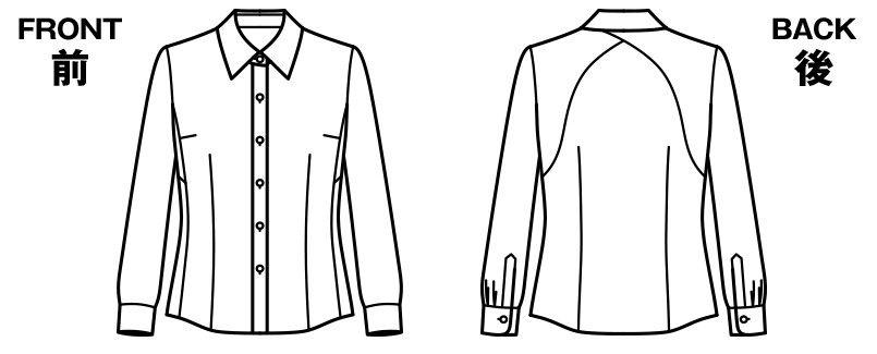 BONMAX RB4157 [通年]背中がニット地 着用時のストレスを軽減する『もっとすごい』長袖ブラウス ハンガーイラスト・線画