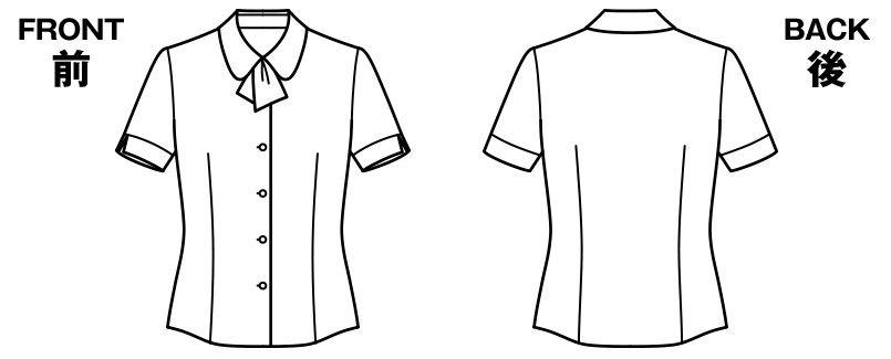 BONMAX RB4548 [通年]パウダリーな風合いで優しい肌触りの半袖ニットブラウス(リボン付き) ハンガーイラスト・線画