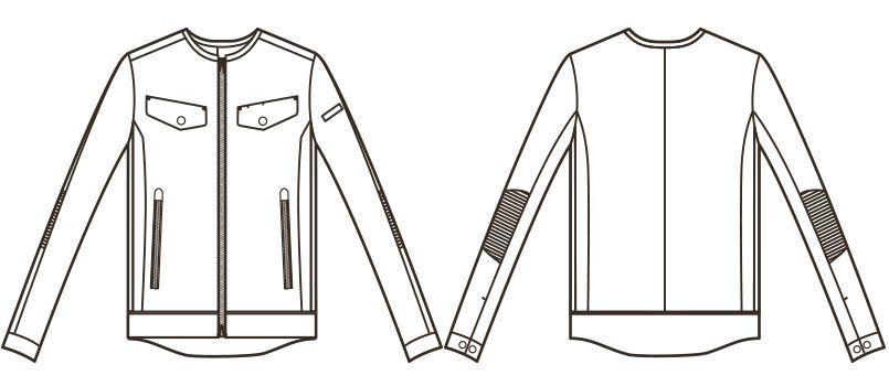 RJ0302 ROCKY レディースノーカラーブルゾン(女性用) ハンガーイラスト・線画