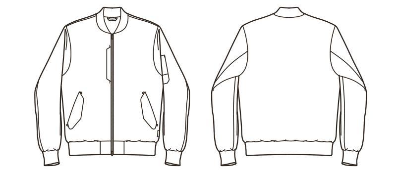 ROCKY RJ0907 デニムMA-1ミリタリージャケット(男女兼用) ハンガーイラスト・線画