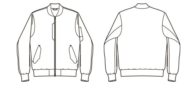 ROCKY RJ0908 ツイルMA-1ミリタリージャケット(男女兼用) ハンガーイラスト・線画