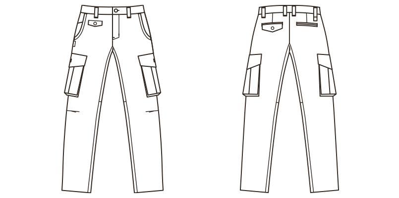RP6601 ROCKY テーパードカーゴパンツ(男性用) ハンガーイラスト・線画