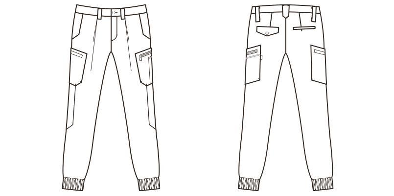 RP6604 ROCKY メンズカーゴジョガーパンツ(男性用) ハンガーイラスト・線画