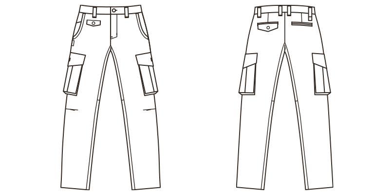 ROCKY RP6904 ツイルカーゴパンツ(男女兼用) ハンガーイラスト・線画